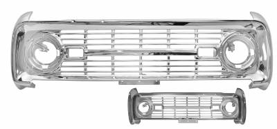 Grilles and Inserts - Bronco Grilles - Dynacorn - Grille for 1966 - 1968 Ford Bronco - Chrome