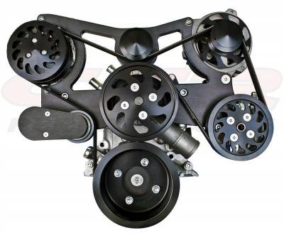 Engine - Pulleys & Brackets - CFR - BILLET FORD SB 302 COMPLETE PULLEY, BRACKET & PUMP SERPENTINE KIT - BLACK
