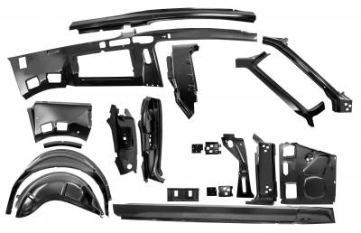Mustang - Doors & Door Assemblies - Dynacorn - Quarter/Door Frame Assembly Kit for 1967 - 1968 Mustang Fastback