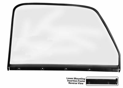 Window Glass - Chevy Pick Up Window Glass - Dynacorn - Door Glass w/Black Trim for 1947 - 1950 Chevy Truck