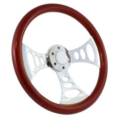 "Forever Sharp - 15"" Mahogany & Chrome Steering Wheel - Chopper Style - Full Install Kit"