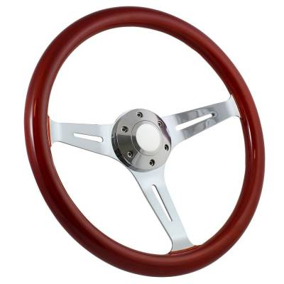 "Forever Sharp - 15"" Mahogany & Chrome Steering Wheel - Split Spoke - Full Install Kit"
