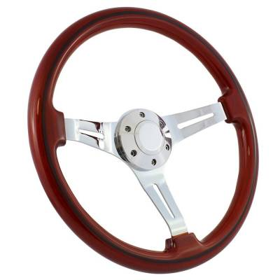 "Forever Sharp - 15"" Mahogany & Chrome Steering Wheel - Split Spoke II - Full Install Kit"