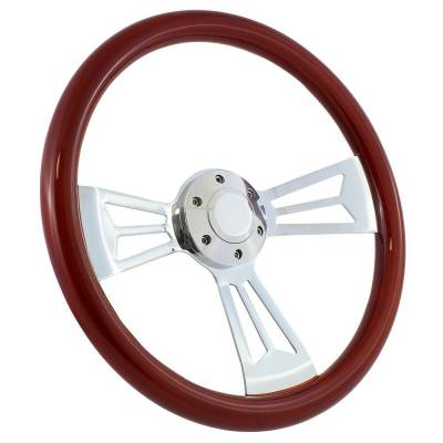 "Forever Sharp - 15"" Mahogany & Chrome Steering Wheel - Split Spoke III - Full Install Kit"