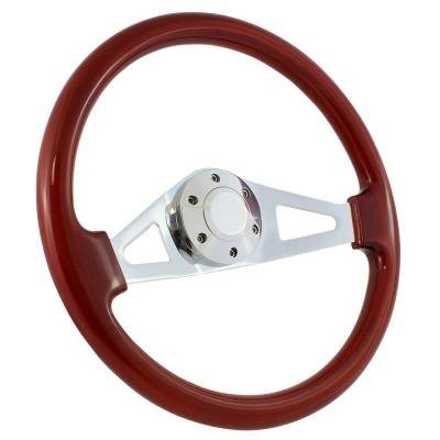 "Forever Sharp - 15"" Mahogany & Chrome Steering Wheel - Aviator Style - Full Install Kit"