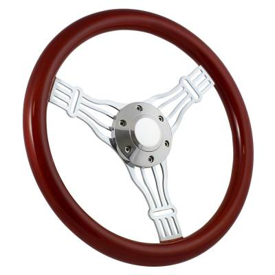 "Forever Sharp - 15"" Mahogany & Chrome Steering Wheel - Banjo Discord - Full Install Kit"