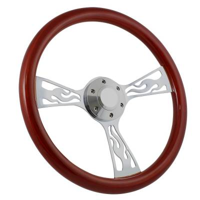 "Steering Wheels - 15"" Steering Wheels - Forever Sharp - 15"" Mahogany & Chrome Steering Wheel - Flamed - Full Install Kit"