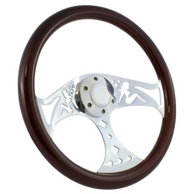 "Steering Wheels - 15"" Steering Wheels - Forever Sharp - 15"" Mahogany & Chrome Steering Wheel - Betty Style - Full Install Kit"