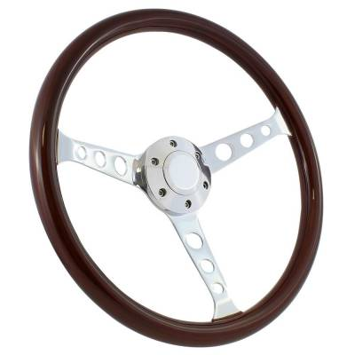 "Forever Sharp - 15"" Mahogany & Chrome Steering Wheel - Classic 3-Spoke - Full Install Kit"