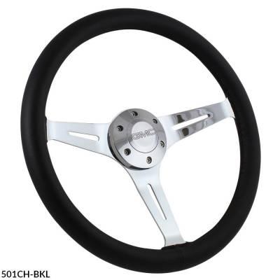 """Forever Sharp Steering Wheels - 15"""" Black Leather & Chrome Steering Wheel - Aviator Style - Full Install Kit - Image 2"""