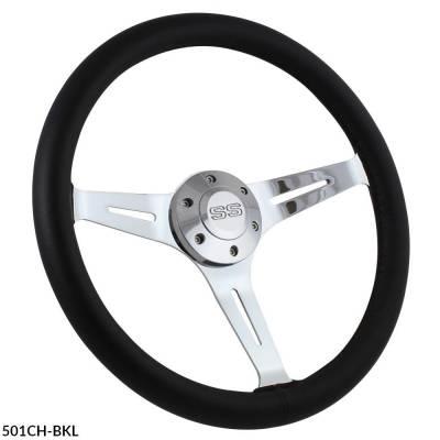 """Forever Sharp Steering Wheels - 15"""" Black Leather & Chrome Steering Wheel - Aviator Style - Full Install Kit - Image 4"""