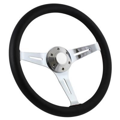 """Forever Sharp Steering Wheels - 15"""" Black Leather & Chrome Steering Wheel - Aviator Style - Full Install Kit - Image 5"""