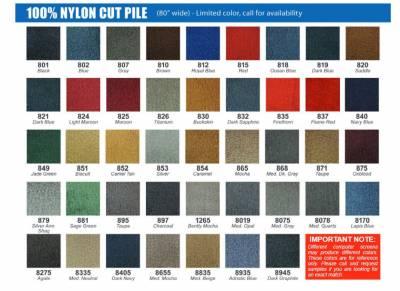 Cut Pile Color Chart