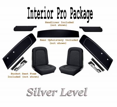 TMI Products - Interior Kit Silver Pro Package (Black) 1966 Mustang Coupe