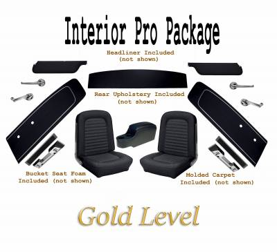 TMI Products - Interior Kit Gold Pro Package (Black) 1966 Mustang Coupe