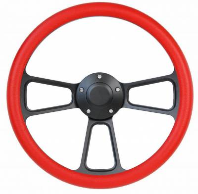 "Forever Sharp Steering Wheels - 14"" Black Billet Muscle w/ Red Half-Wrap Volkswagen Full Boss Kit"