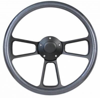 "Forever Sharp Steering Wheels - 14"" Black Billet Muscle Style Steering Wheel Kit w/Your Choice of Horn and Half-Wrap - Image 17"