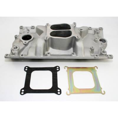 Engine - Intake Manifolds - Big Dog Auto - Satin Aluminum Intake Manifold for 1957-1995 Chevy Small Block