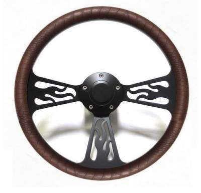 "Forever Sharp Steering Wheels - 14"" Black Billet Flamed Steering Wheel w/Your Choice of Horn and Half-Wrap - Image 7"
