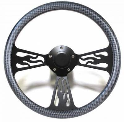 "Forever Sharp Steering Wheels - 14"" Black Billet Flamed Steering Wheel w/Your Choice of Horn and Half-Wrap - Image 8"