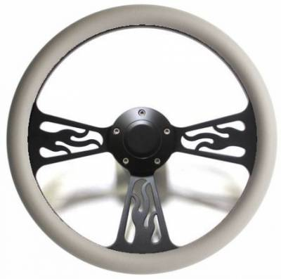 "Forever Sharp Steering Wheels - 14"" Black Billet Flamed Steering Wheel w/Your Choice of Horn and Half-Wrap - Image 9"