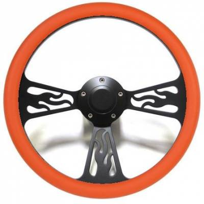 "Forever Sharp Steering Wheels - 14"" Black Billet Flamed Steering Wheel w/Your Choice of Horn and Half-Wrap - Image 10"