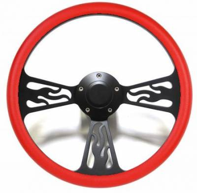 "Forever Sharp Steering Wheels - 14"" Black Billet Flamed Steering Wheel w/Your Choice of Horn and Half-Wrap - Image 11"