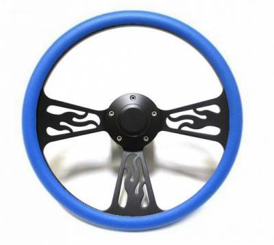 "Forever Sharp Steering Wheels - 14"" Black Billet Flamed Steering Wheel w/Your Choice of Horn and Half-Wrap - Image 12"