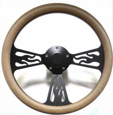 "Forever Sharp Steering Wheels - 14"" Black Billet Flamed Steering Wheel w/Your Choice of Horn and Half-Wrap - Image 13"