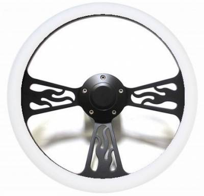 "Forever Sharp Steering Wheels - 14"" Black Billet Flamed Steering Wheel w/Your Choice of Horn and Half-Wrap - Image 14"