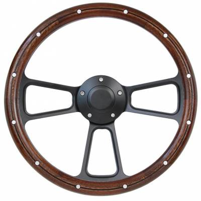 "14"" Wood Steering Wheels - Wood Steering Wheel Kits - Forever Sharp Steering Wheels - 14"" Black Muscle w/ Real Mahogany Wood Half-Wrap & Rivets VW Full Kit"