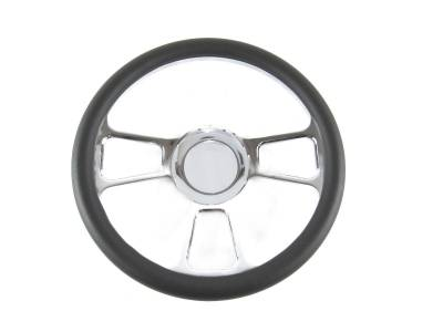 "Big Dog Auto - 14"" Black Leather & Chrome Steering Wheel"