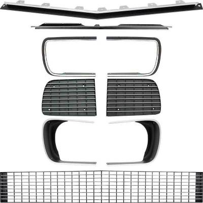 Grilles and Inserts - Camaro Grilles - OER - R5027E - 1967-68 Camaro RS Restorer's Choice™ Grill Kit with Silver Trim / with Headlamp Bezels