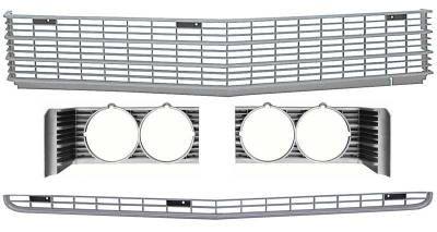 Grilles and Inserts - Impala Grilles - OER - 881345 - 1969 Impala / Full Size Front Grills with Headlamp Bezels Set