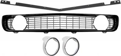 Grilles and Inserts - Camaro Grilles - OER - R5028F - 1969 Camaro Restorer's Choice Standard Black Grill Kit with Headlamp Bezels with Chrome Ring