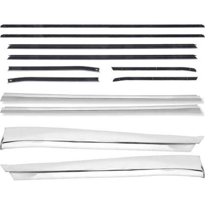 Exterior - OER - *R684 - 1968 Camaro Deluxe Coupe Outer Door/Quarter Reveal Molding Kit with OE Style Windowfelt Se4