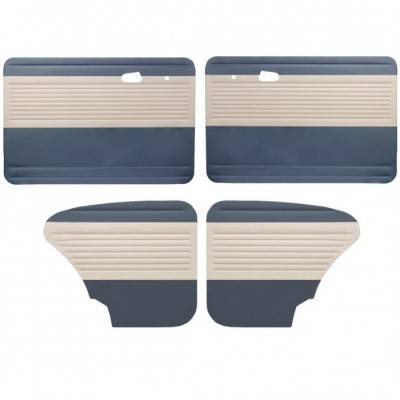 Door Panels - Bug, Beetle - TMI Products - 1949-1978 Bug, 2 Tone, Horizontal Panels, Front & Rear, w/o Pockets