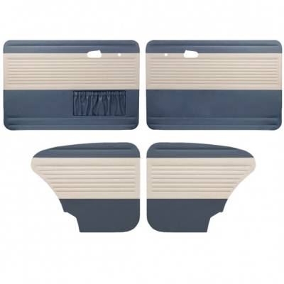 Door Panels - Bug, Beetle - TMI Products - 1949-1978 Bug, 2 Tone, Horizontal Panels, Front & Rear, with Pockets