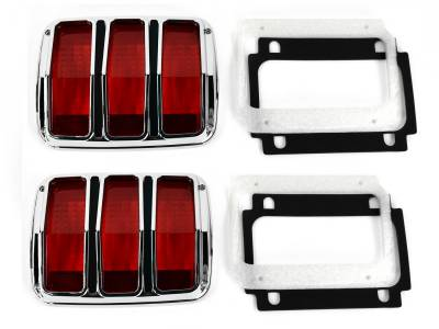 Lighting - Tail Lights, Back Up Lights, Marker Lights - ACP - 1965-66 Mustang Tail Light Assembly Pair w/Bezel & Lens, Both Right & Left Side