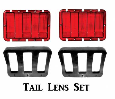 Lighting - Tail Lights, Back Up Lights, Marker Lights - Dynacorn - 1967 1968 Ford Mustang Tail Lamp Lens & Housing Set -- Both Right & Left Sides