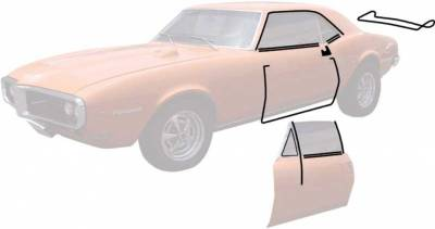 OER - *R5100 - 1967 Camaro / Firebird Coupe Weatherstrip Kit with Reproduction Windowfelts (flat chrome bead)