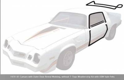 Exterior - OER - *R5107 - 1970-81 Camaro with Outer Door Reveal Molding, without T-Tops Weatherstrip Kit with OEM Style Felts