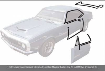 OER -  *R5114 - 1968 Camaro Coupe Standard Interior & Outer Door Molding Weatherstrip Kit w/OEM Style Windowfelt Kit