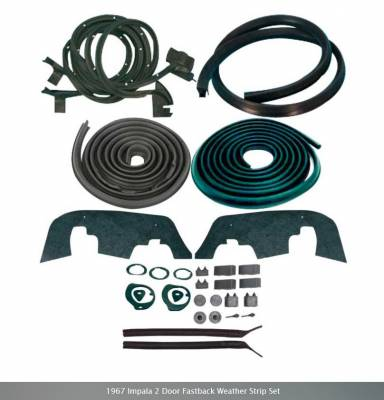 Weatherstripping - Impala Weatherstripping - OER - *WK223 - 1967 Impala 2 Door Fastback Weather Strip Set