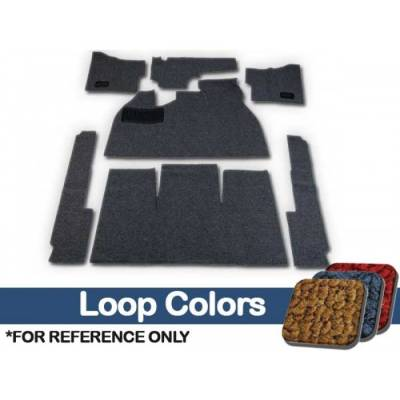 TMI Products - Volkswagen Front and Rear Carpet Kit, w/Footrest, w/Heater Grommets, 1958 - 68 Flat Pedal, 80/20 Loop
