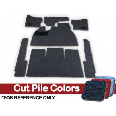 TMI Products - Volkswagen Front and Rear Carpet Kit, w/Footrest, w/Heater Grommets, 1958 - 68 Flat Pedal, Cutpile