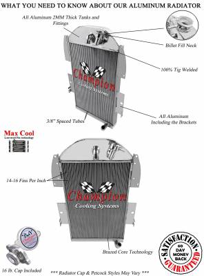 Champion Cooling Systems - 1934-1936 Chevy Pick Up Truck w/Inline Six Champion Three Row Radiator CC3436 - Image 2