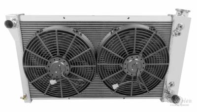 Champion Cooling Systems - Champion Four Row All Aluminum Radiator Combo for 1967-1972 Chevy Blazer and Suburban, GMC Jimmy mc369