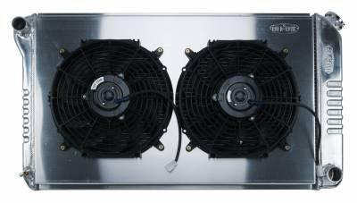 Radiators - Radiator Combos - Cold Case - 68-72 A-Body Aluminum Radiator Manual Transmission Dual 12 Inch W/12 Inch Fan Kit Cold Case Radiators