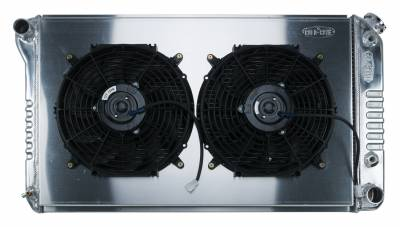 Radiators - Radiator Combos - Cold Case - 68-72 A-Body Aluminum Radiator Automatic Transmission Dual 12 Inch W/12 Inch Fan Kit Cold Case Radiators